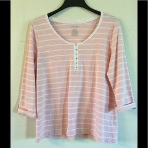 St. John's Bay Pink Striped Casual Top